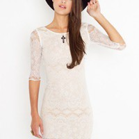 Lace Scoop Dress - Ivory - NASTY GAL