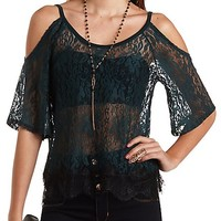 Cold Shoulder Scoop Neck Lace Top by Charlotte Russe - Teal