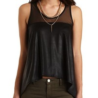 Mesh & Faux Leather Tank by Charlotte Russe - Black