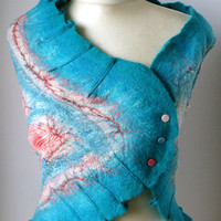 Asymmetric Pink Aqua Mirth Bolero  Hand Felted made by vaivanat