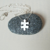 sterling silver jigsaw puzzle necklace No 3 handmade by huiyitan