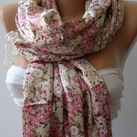 Scarf /Shawl  Gorgeous Fabric - Pink Flovered