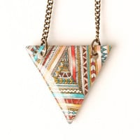 Tribal Print Necklace in Red, Peach, Teal, Yellow