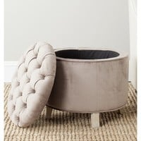 Safavieh Amelia Mushroom Taupe Cotton Tufted Storage Ottoman | Overstock.com Shopping - The Best Deals on Ottomans