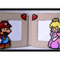 Mario Paper Photo Frame. Mario & Peach Double Mini Book Style Synthetic leather Picture Frame.