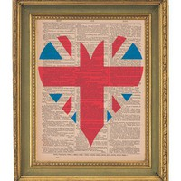 Union Jack Heart Vintage Dictionary Print  by papergangsterprints