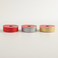 Red, Gold and Silver Glitter Ribbon, 3-Pack - World Market