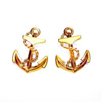 Vintage Anchor Earrings, Gold, Ivory Enamel, Pierced