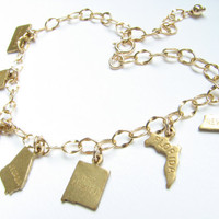 Personalized state charm bracelet gold brass custom U.S. state charm Texas Florida California New York New Jersey Ohio Georgia...