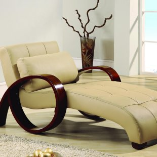 Oliver leather chaise lounge indoor from for Blue leather chaise lounge