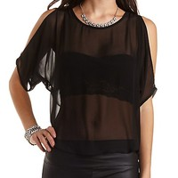Beaded Dolman Sleeve Chiffon Top by Charlotte Russe - Black