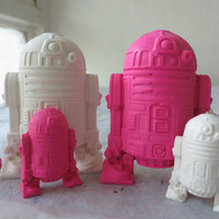 Large and Mini R2D2 Crayon Set of 8 in Pink and White