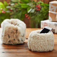 Faux Fur Beanbag Cell Phone Holder