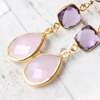 Pink Purple Gemstone Earrings - bezel set amethyst and blush rose quartz, pastel spring wedding