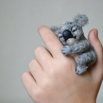 Needle felted little sleeping koala bear