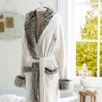 COZY FUR ROBE - IVORY/GRAY OMBRE