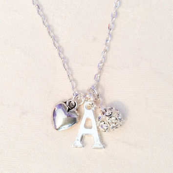 Custom Necklace, Initial Necklace, Diamanté Jewelry, Bridesmaid Jewelry, Wedding