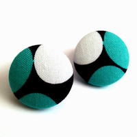 Teal and white circles abstract button earrings
