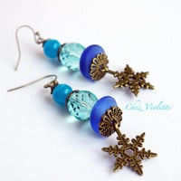 Snowflake earrings - Blue fresh mint earring - transparent Glass beads - Christmas earrings - zircon, aquamarine, opal