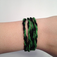 Slytherin Double-Braided Wrap Bracelet