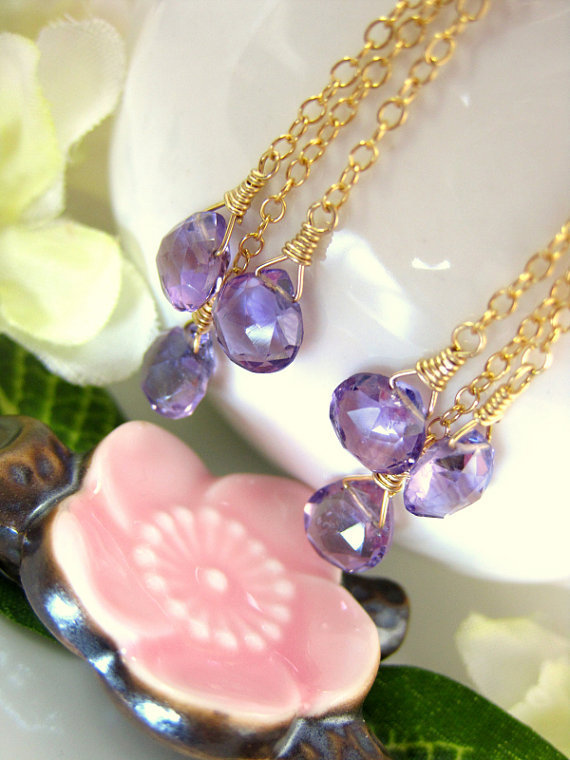 Triple purple amethyst drop chain earrings