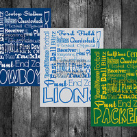 NFL Teams Printable Subway Art 5x7 or 8x10