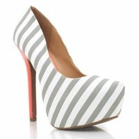 striped-colorblock-platform-heels BLACK LTGREY NAVY - GoJane.com