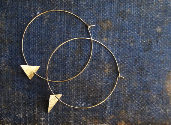 Golden Brass Hoops with Triangle Accent
