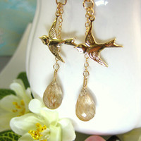 Hunger Games Mocking Jay gold rutilated quartz drop earrings
