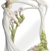 Porcelain Mirror | Maiden with Geranium Flowers  Mirror