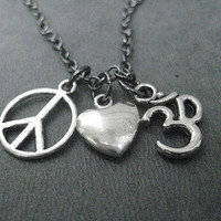PEACE LOVE YOGA Necklace  - Yoga Jewelry - Om Necklace - Inspiration Jewelry - 18 inch gunmetal chain - Yoga Jewelry