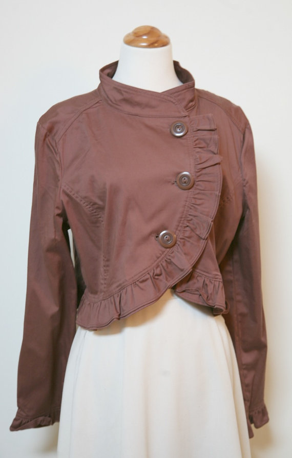 Chocolate Brown Large Button Ruffle Bordered XL Crop Jacket