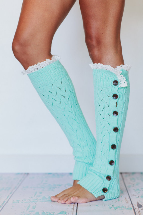 Lacy Knitted Leg Warmers Button Down LegWarmers Mint Apple (LWK1-13)
