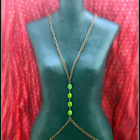 copper and green turquoise chain vest, body chain, unique necklace, vintage necklace
