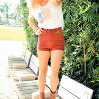 Burgundy High Waisted Cut-Off Studded Shorts