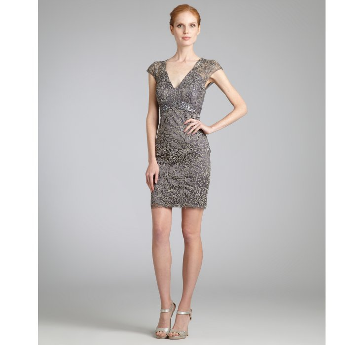 Sue Wong charcoal champagne beaded empire waist v-neck dress | BLUEFLY up to 70 off designer brands