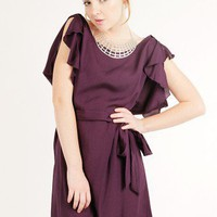 PURPLE FLUTTER SLEEVE CHIFFON DRESS @ KiwiLook fashion