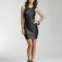 Sleeveless Contrast Leatherette Dress