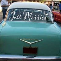 Just Married Heartfelt Wedding Car Decal