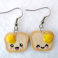 Cute Kawaii Toast Earrings, with Melted Butter and Emotion Faces :)