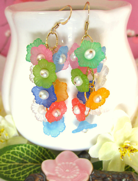 Rainbow cluster cherry blossom earrings