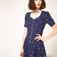 Women Shopt Sleeve Print Navy Style Chiffon Mini Length Blue Sweetheart Dress S/M/L/XL@II0001bl $15.55 only in eFexcity.com.