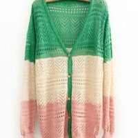 Mixed Color Hollow V-neck Knit Cardigan$42.00
