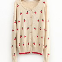Vintage Sweet Cherries Knit Ccardigan$48.00