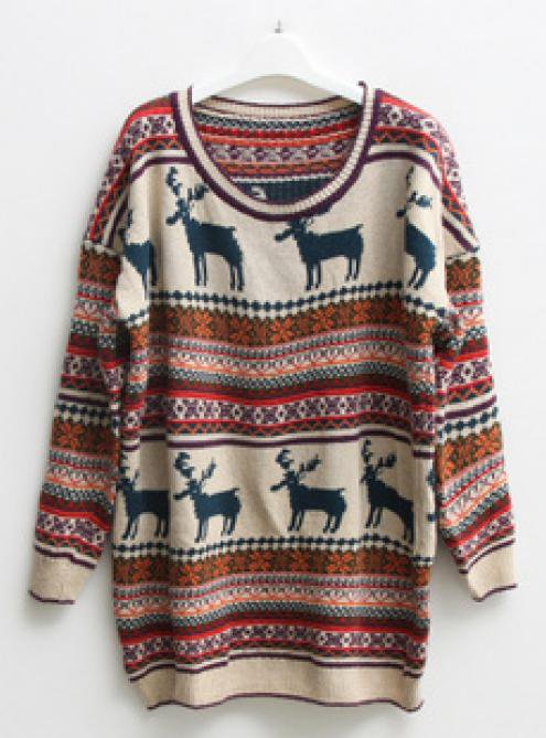 Christmas Deer Round Neck Long Sleeved Sweater$42.00