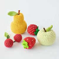 Crochet baby rattles Fruit - Set of 5 - apple, pear, raspberry, srawberry, cherry - eco friendly, Free Worldwide Shipping
