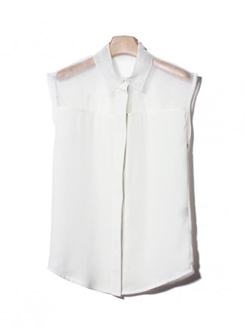 White Sleeveless Blouse $39.00