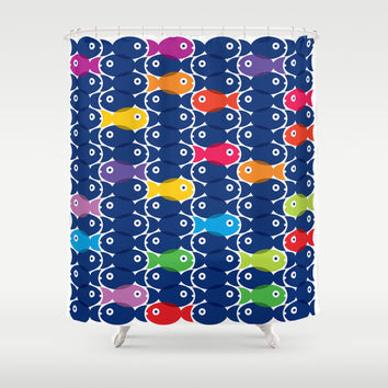 Fish Blue Shower Curtain by Ornaart