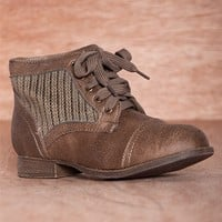 Cozy Crew Knit Sweater Panel Lace Up Boots LIBBY-09 - Taupe