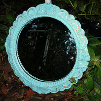 Round Baroque Style Mirror / Robins Egg  Blue / Wall Decor/ Hollywood Regency